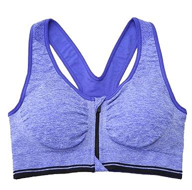 Winwinus Women s Front-Zip Shockproof Wire-Free Lightly Sports Bra Blue S