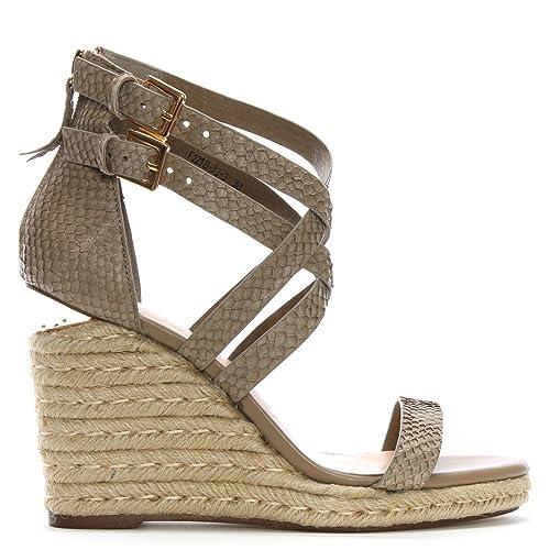 797a8743a01 Daniel Palomo Beige Reptile Leather Lattice Wedge Sandals 37 Beige ...