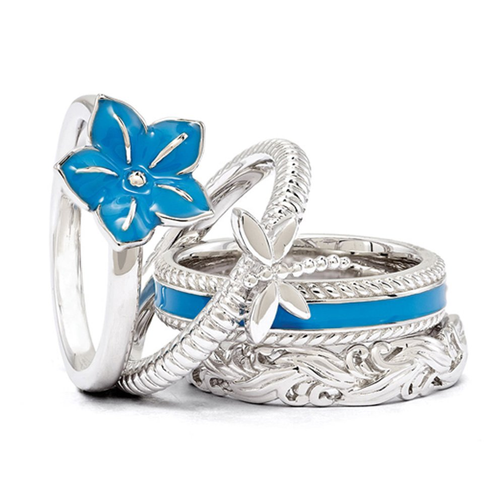 Sterling Silver & Blue Enamel Stackable Morning Glory Ring Set Size 5
