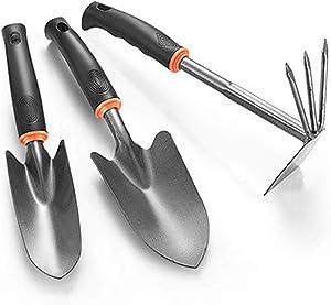 BLAUE Garden Tools Set, 3 Pcs Heavy Duty Gardening Kit Includes Hand Trowel, Transplant Trowel and Hoe, with Comfort Rubberized Non-Slip Ergonomic Handle, Garden Tools Gifts for Men Or Women