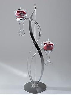 Moderne Kerzenständer kerzenleuchter tischleuchter welle 2 flammig mit tropfen glas