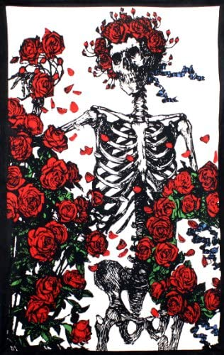 Sunshine Joy Grateful Dead 3D Bertha Skeleton and Roses Tapestry Wall Art Beach Sheet Huge 60×90 Inches – Amazing 3D Effects