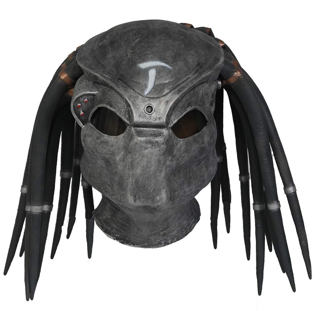 Predater Helmet Updated Horror Full Head Mask Halloween Party Cosplay Costume Prop Grey