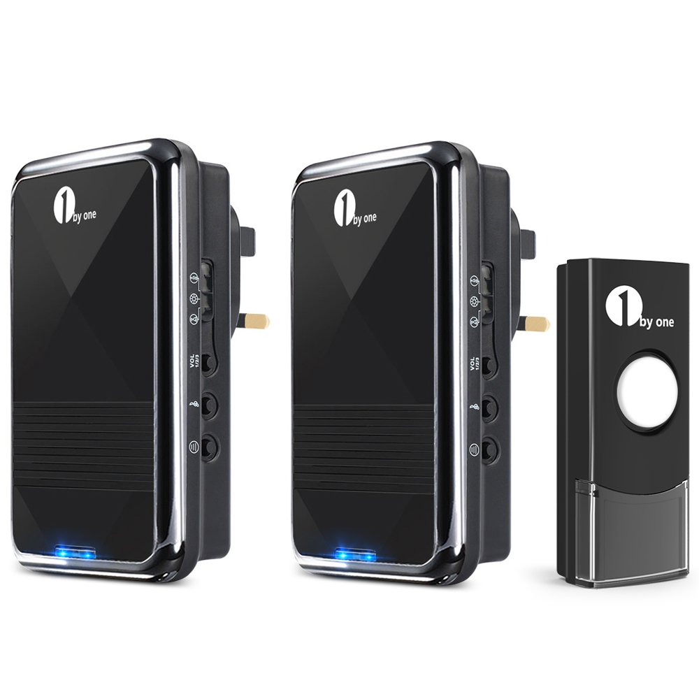 1 By One Easy Chime Wireless Doorbell Door Kit 2 Plug In Electrical Wiring The Home Deaf Doorbells Receivers Push Button With Cd Quality Sound And Led Flash 36 Melodies To Choose