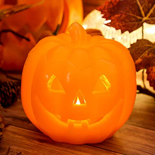 Halloween LED Jack-O-Lantern Pumpkin Lights Battery Operated, Orange Pumpkin Shaped Halloween Flameless Real Wax Flickering Candle with Timer for Halloween Home Table Centerpiece Decoration