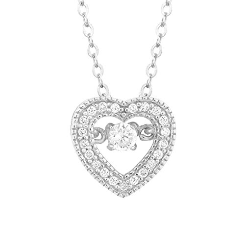 Beaux Bijoux Sterling Silver Dancing CZ Heart Pendant with 18 Chain