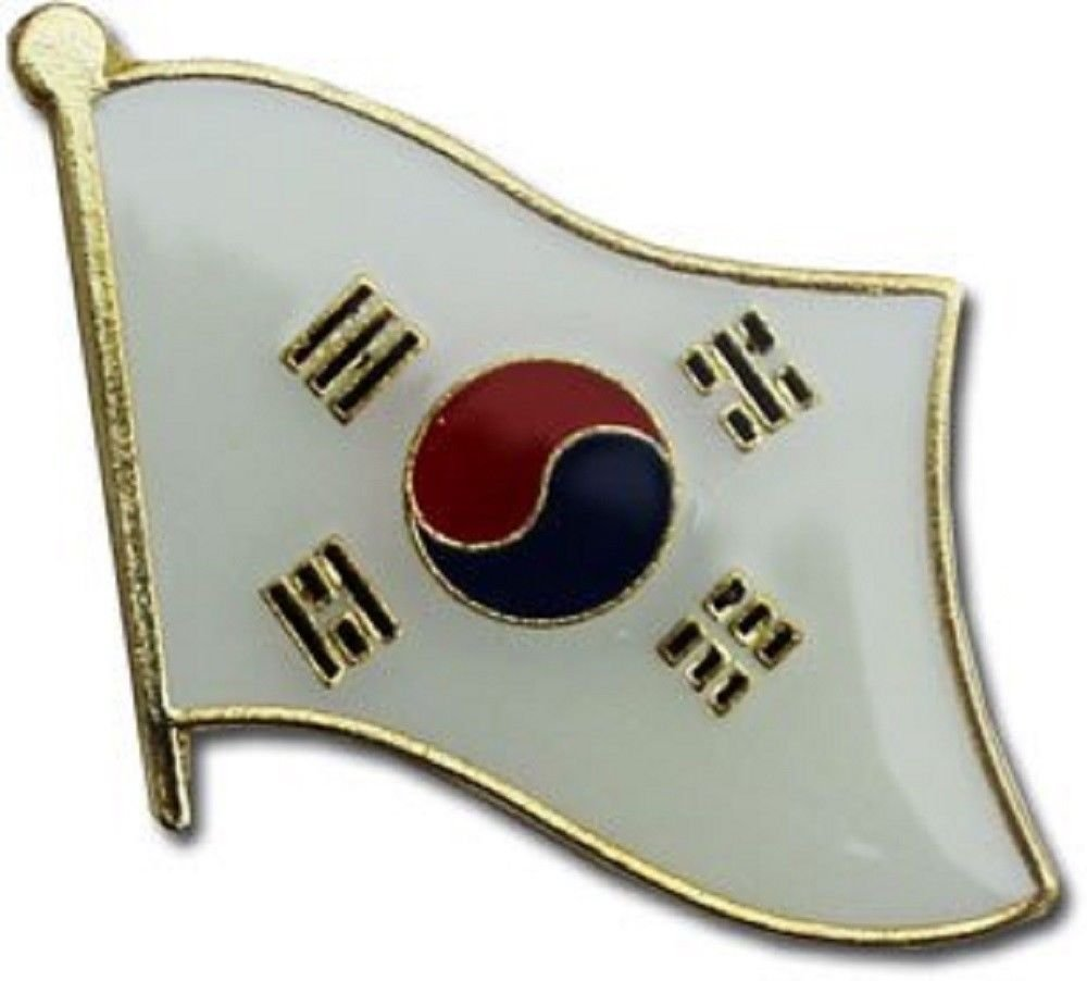 South Korea Country Flag Small Metal Lapel Pin Badge ... 3/4 X 3/4 Inches ... New
