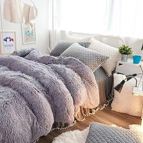 ふわふわ 暖かい 布団カバー シーツ 枕カバー セット (グレー, クイーン) B0791D6F68 グレー クイーン