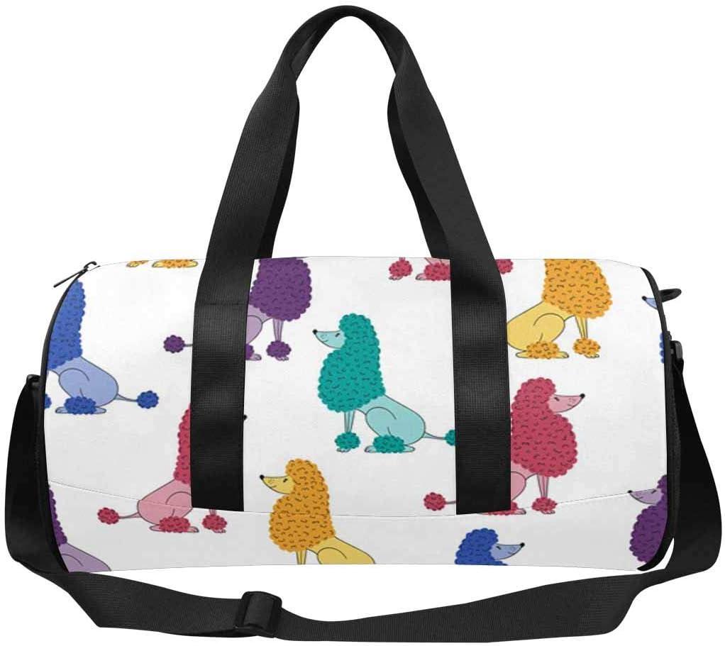 INTERESTPRINT Cute Colorful Poodle Dog Travel Duffel Bag for Unisex-Adult Sport