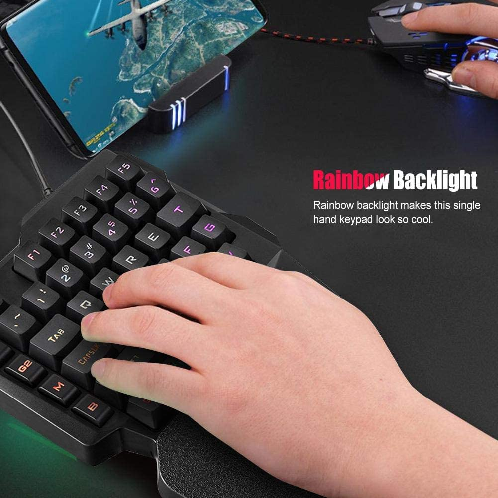 Yoidesu One Handed Mechanical Gaming Keyboard,Colorful Backlit Professional Gaming Keyboard with Wrist Rest Support,USB Wired Single Hand Mechanical Keyboard for Game