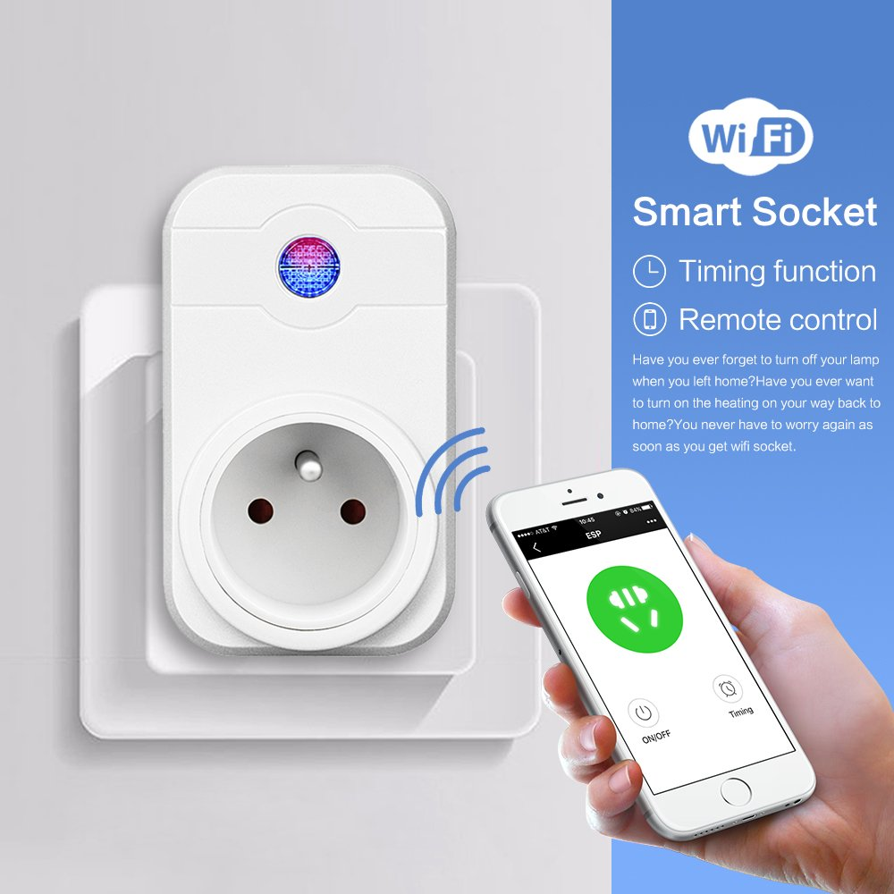 Intelligente Prise WiFi,HORSKY Prise Connect/ée Intelligente WiFi Prise Compatible avec Android iOS AlexaPrise Courant Intelligente Prise de Courant Mise en Veille Programmable Wifi prise