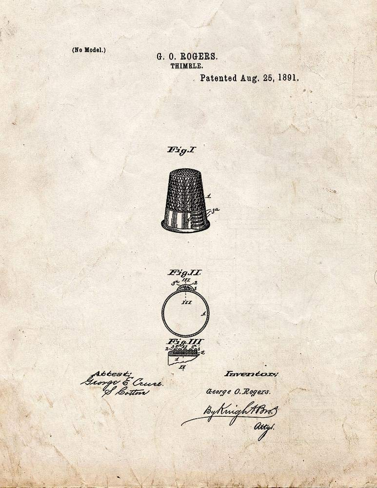 Thimble Patent Print Old Look (24'' x 36'') M10983 by Frame a Patent