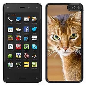EJOY---Cubierta de la caja de protección para la piel dura ** Amazon Fire Phone ** --American Shorthair gato enojado