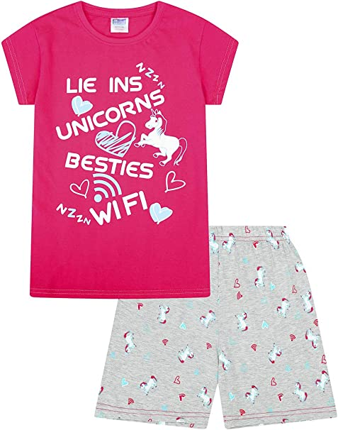 "Tema: unicorni /""Ins/"" Con le scritte in inglese: /""Lie/"" Et/à: 9-16 anni /""WiFi/"" /""Besties/"" Pigiama Per ragazze /""Unicorns/"" Colore: rosa Lie Ins"