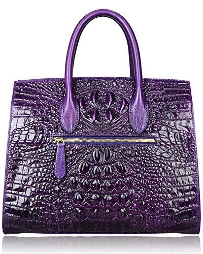 PIJUSHI Crocodile Handbags And Purses Satchel Office Padlock Handbag For Women 22130 violet by PIJUSHI (Image #5)