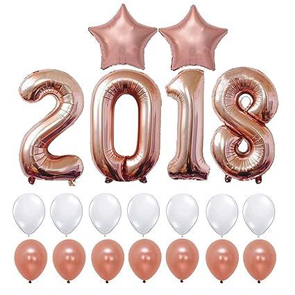Amazon Com 20pcs 2018 Rose Gold Balloons Decorations Anniversaire