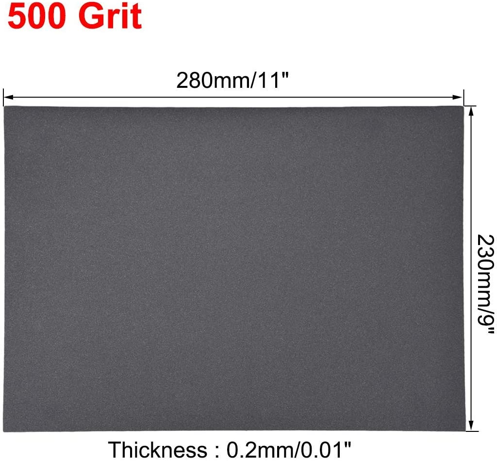 Sandpaper sheets 500 Grits 9 inch x 11 inch dry and wet silicon carbide sandpaper for wood furniture Metal Automotive polishing 5 pieces