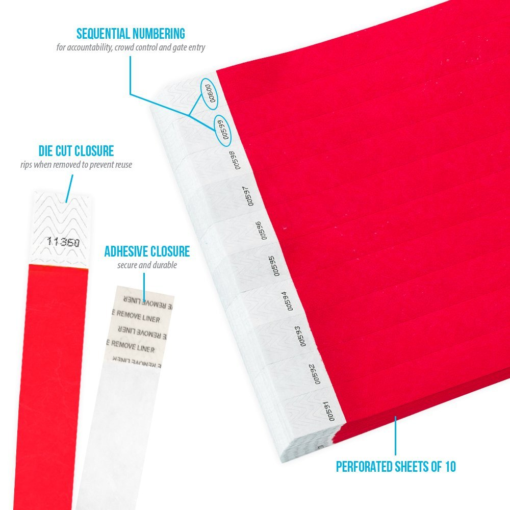 WristCo Neon Red 3/4'' Tyvek Wristbands - 500 Pack Paper Wristbands For Events by Wristco (Image #2)