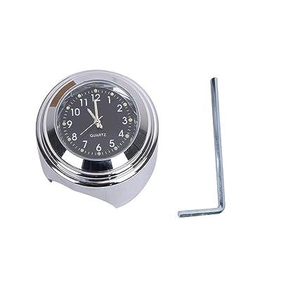 "TESWNE 7/8"" Motorcycle Chrome Handlebar Black Dial Clock for Honda Yamaha Suzuki Kawasaki: Automotive"