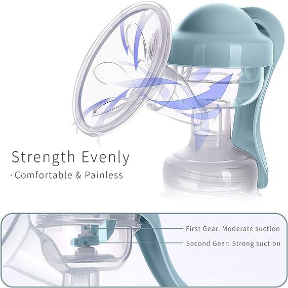 Azul SONARIN Sacaleches Manual,Extractor de leche Transparente,libre de BPA y 100/% de silicona de grado alimenticio