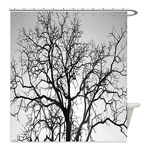 [Liguo88 Custom Waterproof Bathroom Shower Curtain Polyester Forest Home Decor Dead Old Branches Arms Limbs Sadness Symbol Tree of Life Offshoot Picture Grey Black Decorative bathroom] (Sadness Costume Ideas)