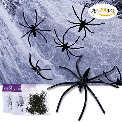 200 Pcs Halloween Scary Plastic Spiders & 2 Pack super Stretch Spider Webs for Halloween Decoration /Trick or Treat Big Pack Party /Prank (Halloween Dog Spider Prank)
