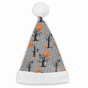 4cab91182bdae Christmas Santa Hat Spooky Halloween Trees Luxury Plush Christmas Santa  Claus Cap Xmas Hat for Adults