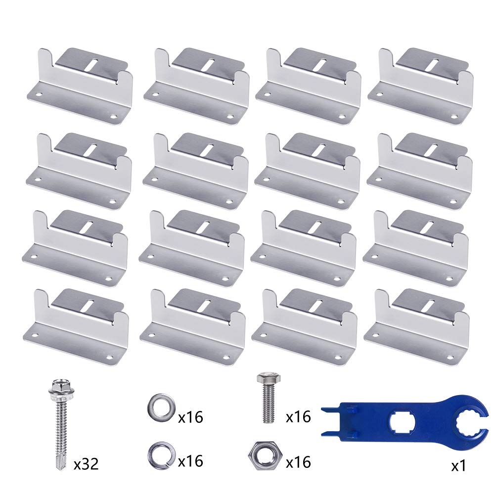 Wigbow Solar Panel Mounting Z Brackets with Nuts and Bolts - for RV, Boat, Roof, Wall and Other Off Gird Solar Panel Mounting (4 Sets)