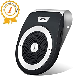 Bluetooth Handsfree Speakerphone for Cell Phone, Aigital Wireless Car Speaker Motion AUTO Power ON Car Receiver Sun Visor Music Player Adapter Built-in Microphone for Hands-Free Talking - Black