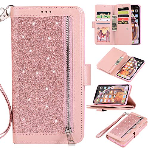 Shinyzone Wallet Phone Case for iPhone XR with 9 Card Slots,iPhone XR Glitter Leather Case with Zipper Pocket,Fashion Design with Hand Strap Magnetic Stand Flip [Dual Folio] Cover,Rose Gold