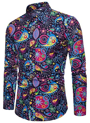(EMAOR Mens Button Front Slim Fit Long Sleeves Floral Print Shirt Tops, 11#Color, US XX-Large = Tag 7XL )