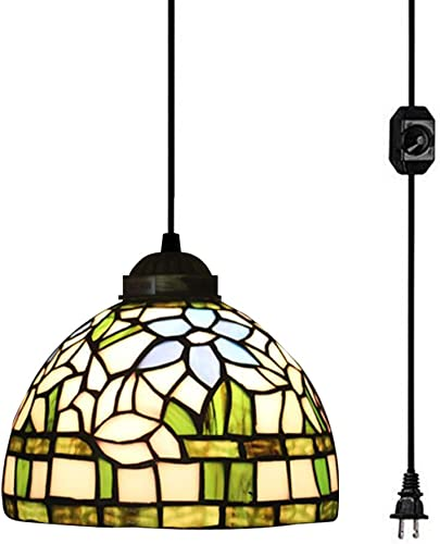 Kiven Tiffany Style Victorian Plug in Pendant light1- Light Ceiling Pendant Fixture with 18-Inch Shade, Green