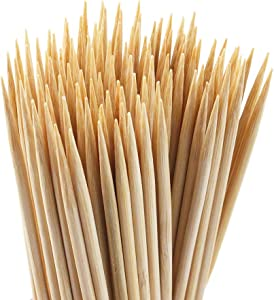 HOVEOX 300 Pcs 6 Inch Natural Bamboo Sticks Bamboo Roasting Sticks Skewers BBQ Hot Dog Caramel Candy Marshmallow Kebab Sausage for Camping and Party