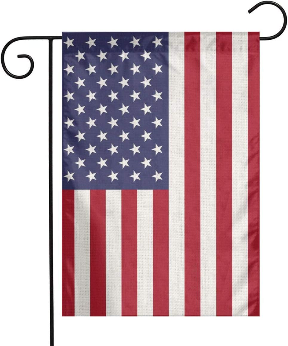 YANGHOME American USA Flag Proud 4th of July Memorial Day Flax Nylon Burlap Linen Fabric Garden Flag Farmhouse Decorations Mailbox Decor Welcome Sign 12x18 Inch Small Mini Size Double Sided