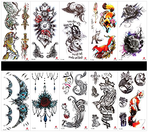 SPESTYLE 10pcs tattoo animal tiger tattoos waterproof and non toxic real fake tattoos in 1 packages,including roses,phoenix,cross,pray hand,leopard,clock,fox,etc.