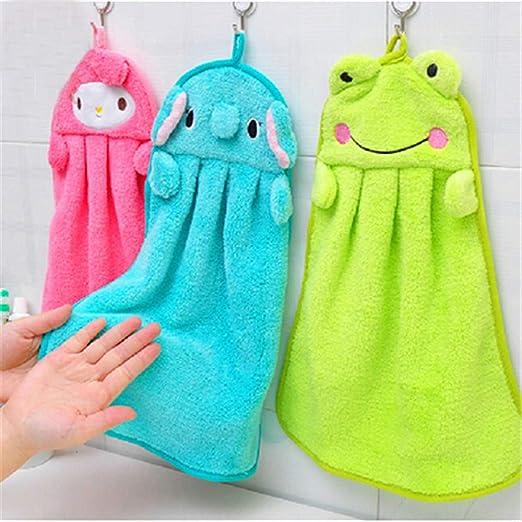 Soft Cartoon Coral Velvet Hanging Hands Clean Wipe Towels Nursery Child Bathroom