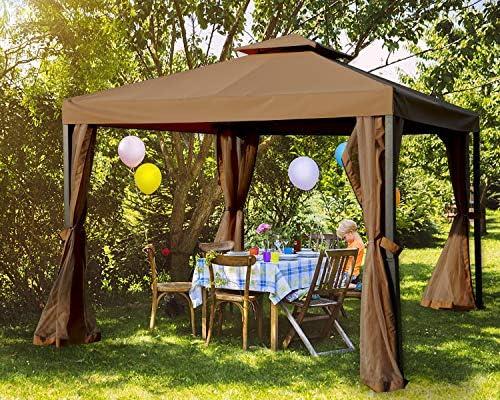 Amazon Com Mastercanopy Outdoor Patio Gazebo Waterproof Soft Top Steel Garden Gazebo Tent Lawn Backyard And Deck 10x10ft Brown Garden Outdoor