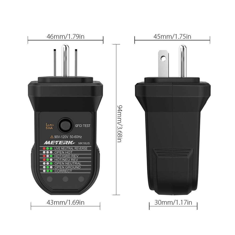 Meterk Gfci Electric Socket Tester Automatic Neutral Live