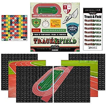 Scrapbook Customs Go Big Track and Field Themed Paper and Stickers Scrapbook Kit