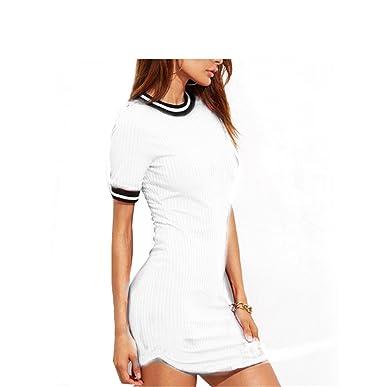 Eloise Isabel Fashion Mulheres vestidos bandage moda listrado preto patchwork curvo hem dress elegante ladis curto