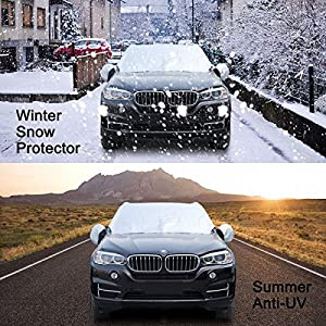 "LASUAVY Magnetic Windshield Sun Shade with Side View Mirror Protector - Extra Large & Thick Windproof Design Fits Most Car, SUV, Truck and Van - 84.6"" x 49.2"""