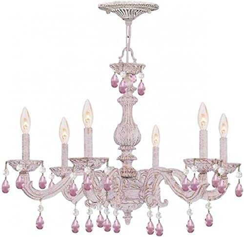 Crystorama 5036-AW-RO-MWP Crystal Accents Six Light Chandelier from Paris Market collection in Whitefinish,