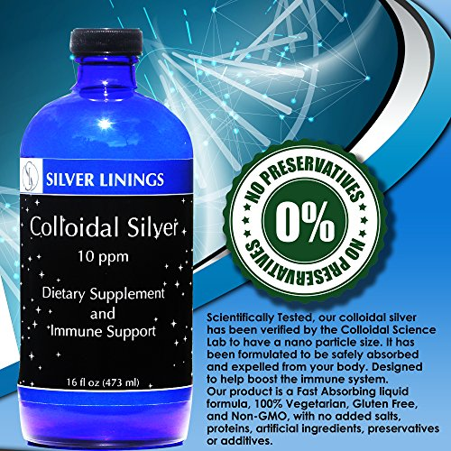 Silver Linings Colloidal Silver Hydrosol, 10 PPM, A Powerful Natural Antibiotic, and Preventative Measure Against Infection, Immune Support, Safe for Adults, Kids, Pets, and Plants, 16 oz by Silver Linings (Image #4)