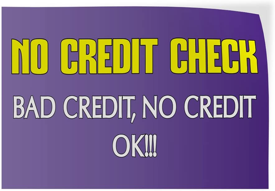 27inx18in Set of 5 Decal Sticker Multiple Sizes No Credit Check! Business No Credit Check Ok Bad Credit No Credit Ok Outdoor Store Sign Lavender