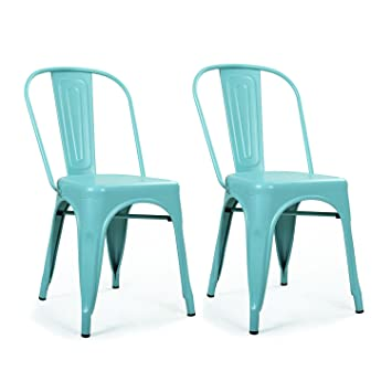amazon com homebeez metal dining chair 2 stacking chairs outdoor