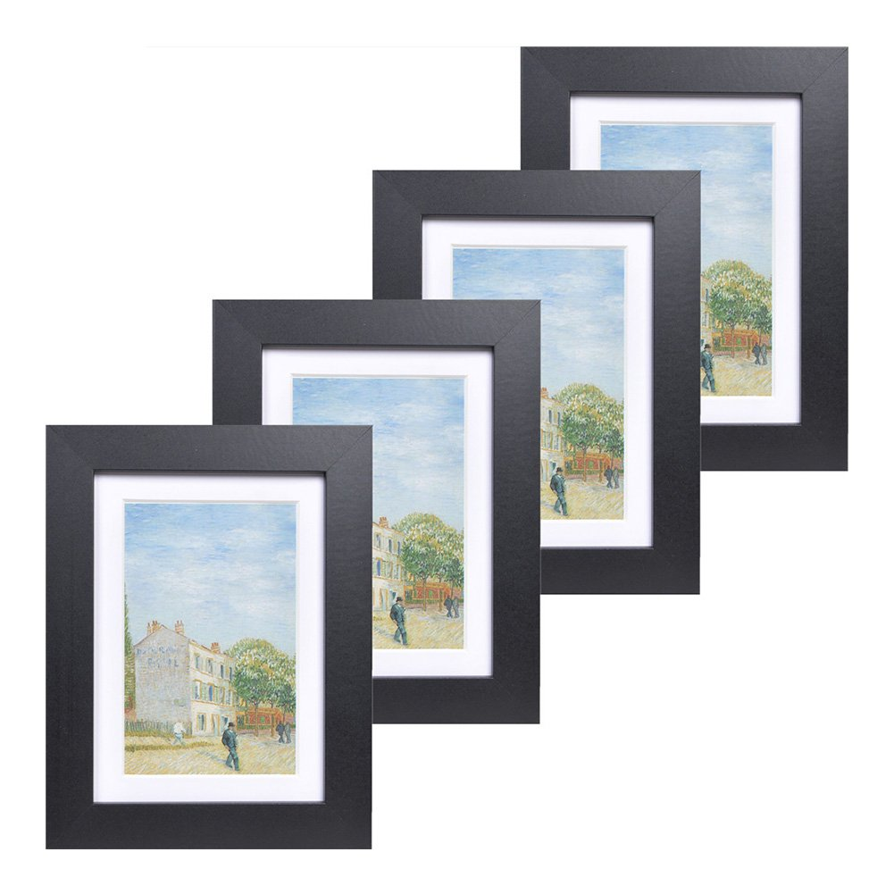 5x7 Wood Picture Frame - Flat Profile - Set of 4 - for Picture 4x6 with Mat or 5x7 Without Mat (Black)