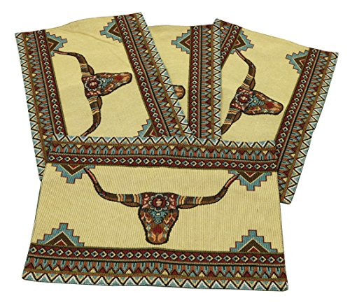 Painted Horns Jacquard Design Place Mats Set of 4 13x19 (Western Bath Mat)