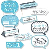Funny 1st Birthday Boy - Fun to be One- First Birthday Party Photo Booth Props Kit - 10 Piece
