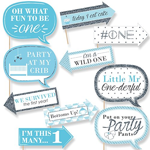 Funny 1st Birthday Boy - Fun to be One - First Birthday Party Photo Booth Props Kit - 10 Piece