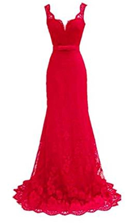 EMIN Damen Meerjungfrau Spitze Ballkleid Abendkleid Rot ...